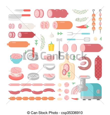 Vector Clip Art of Assortment variety of processed cold meat.
