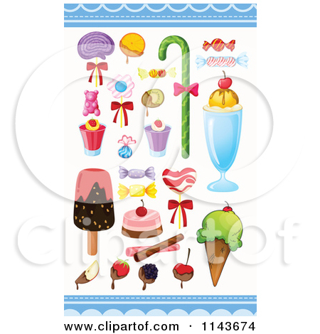 Cartoon Of An Assortment Of Sweets And Desserts 16.