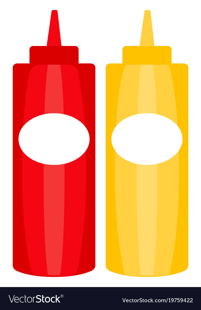 Colorful ketchup mustard sauce bottle icon poster.