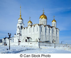 Stock Photography of Assumption cathedral at Vladimir in summer.