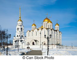 Pictures of Assumption cathedral at Vladimir in winter, Russia.
