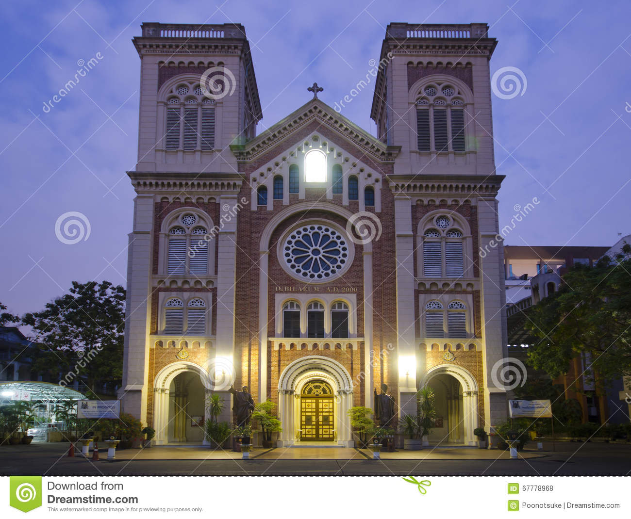 Assumption Cathedral, Bangkok Stock Photo.