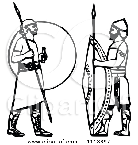 Clipart Vintage Black And White Ancient Assyrian Spearmen Guards.