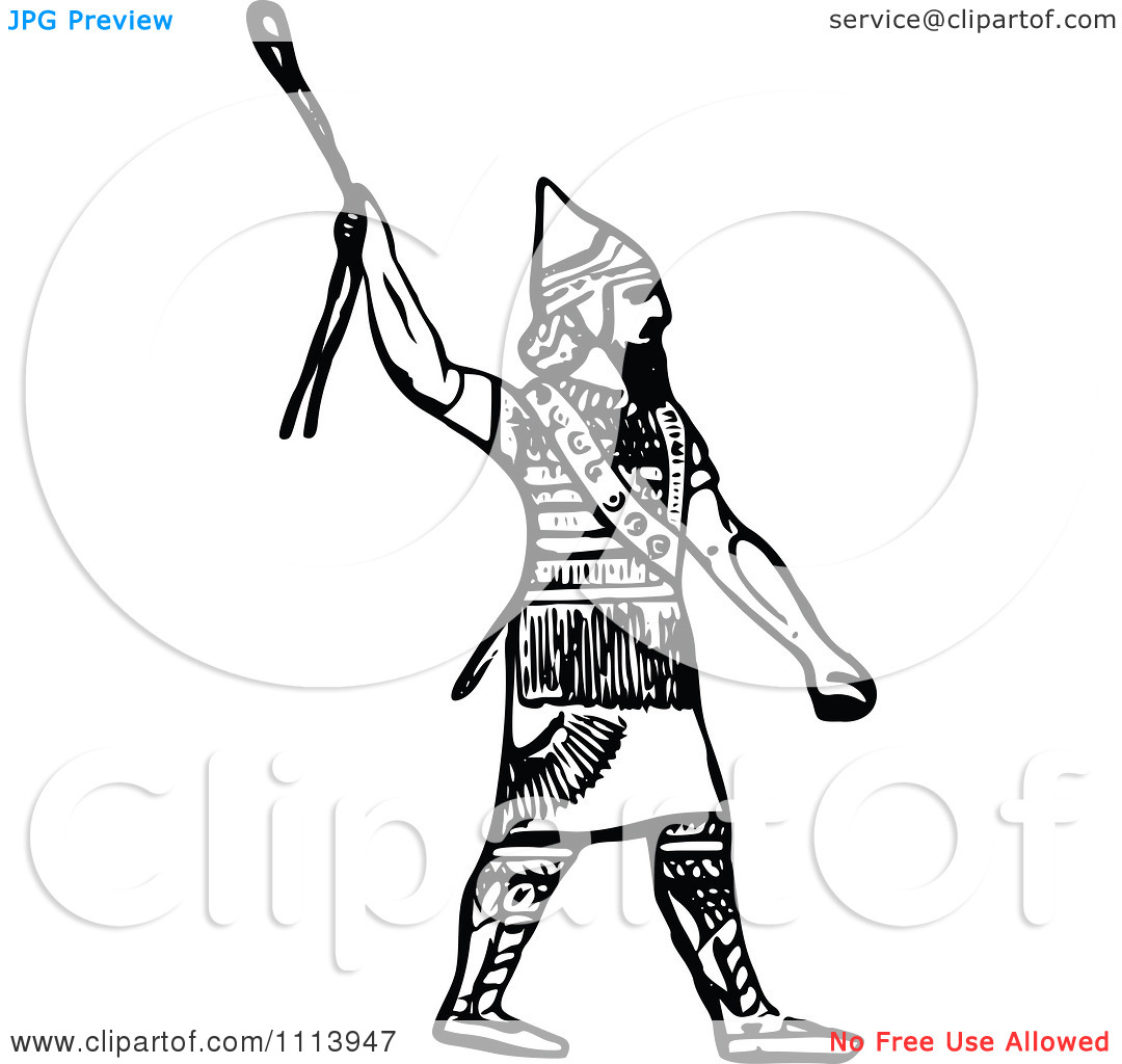 Clipart Vintage Black And White Ancient Assyrian Spearman Guard 1.