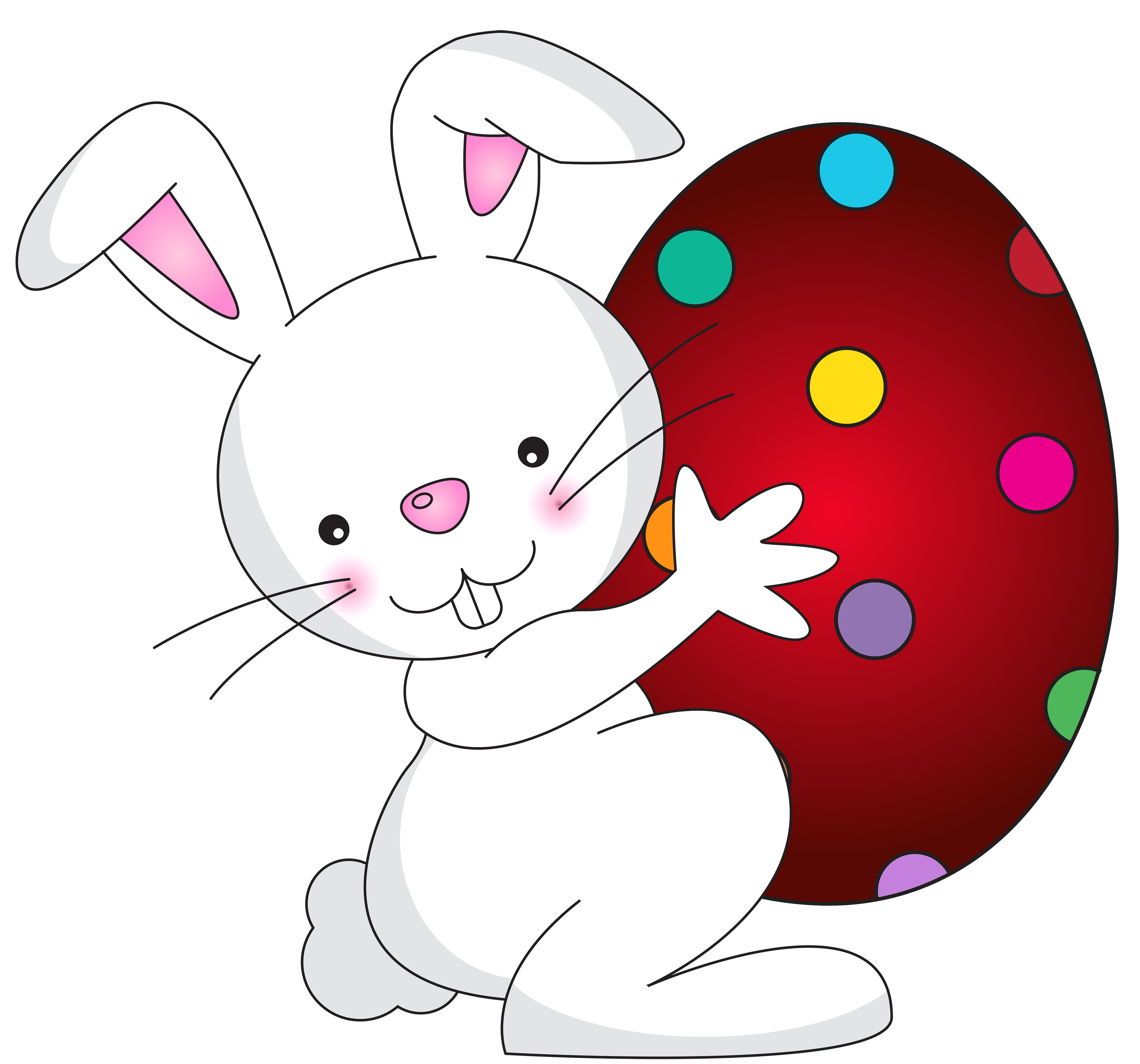 White Easter Bunny Transparent PNG Clip Art Image.
