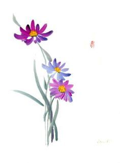 September flower aster clipart.