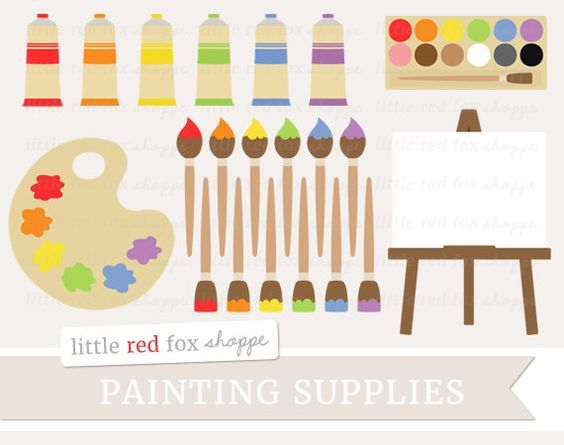 Paint Supplies Clipart, Painting Clip Art Paintbrush Palette.