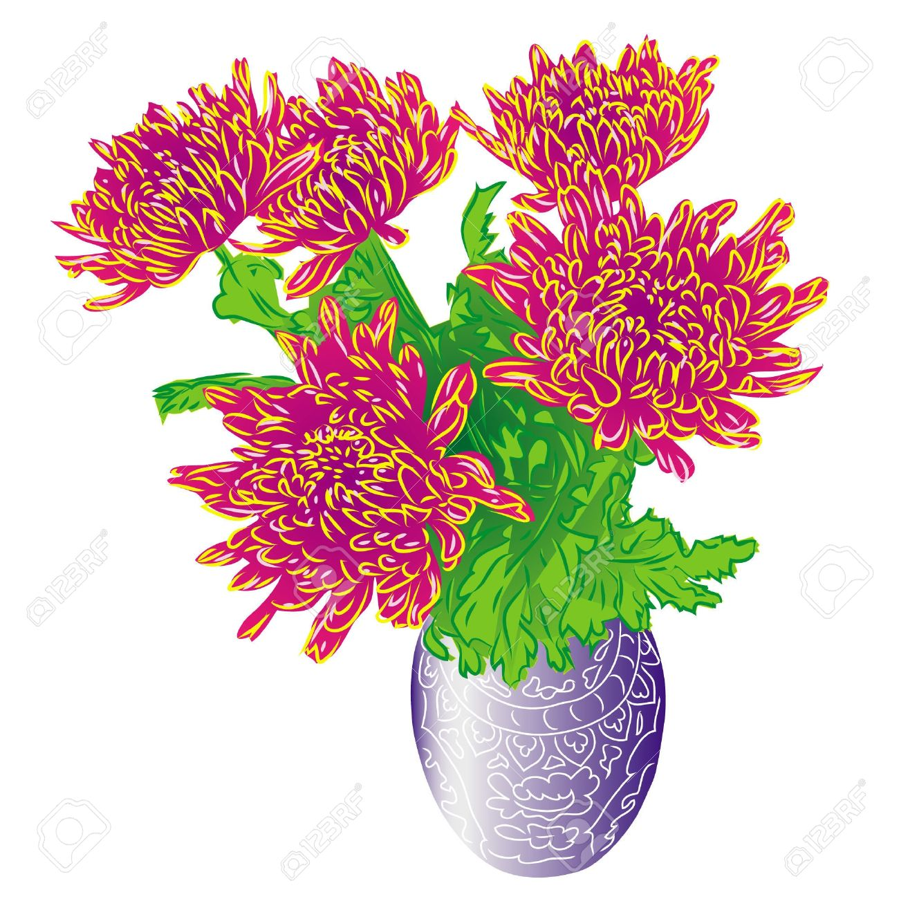 Bouquet Asters In Vase, Isolated On White Background Royalty Free.