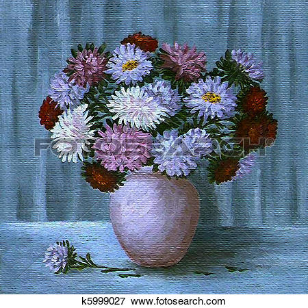 Stock Illustration of Flowers asters in a pot k5999027.
