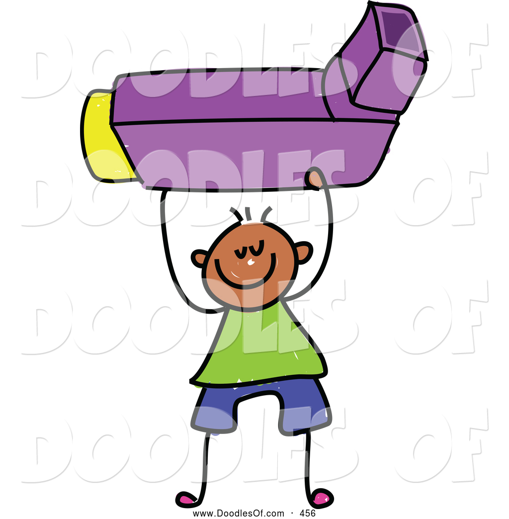 Vector Clipart of a Stick Figure Boy Holding an Asthma.