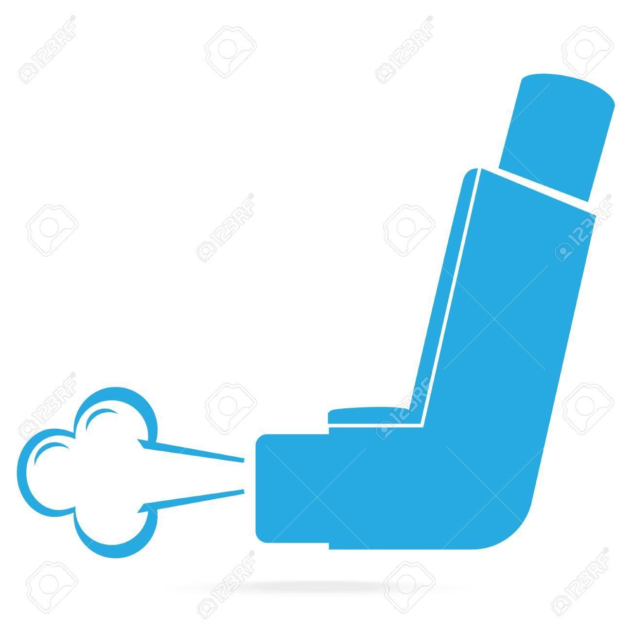 Asthma inhaler blue icon. Medicine symbol illustration.