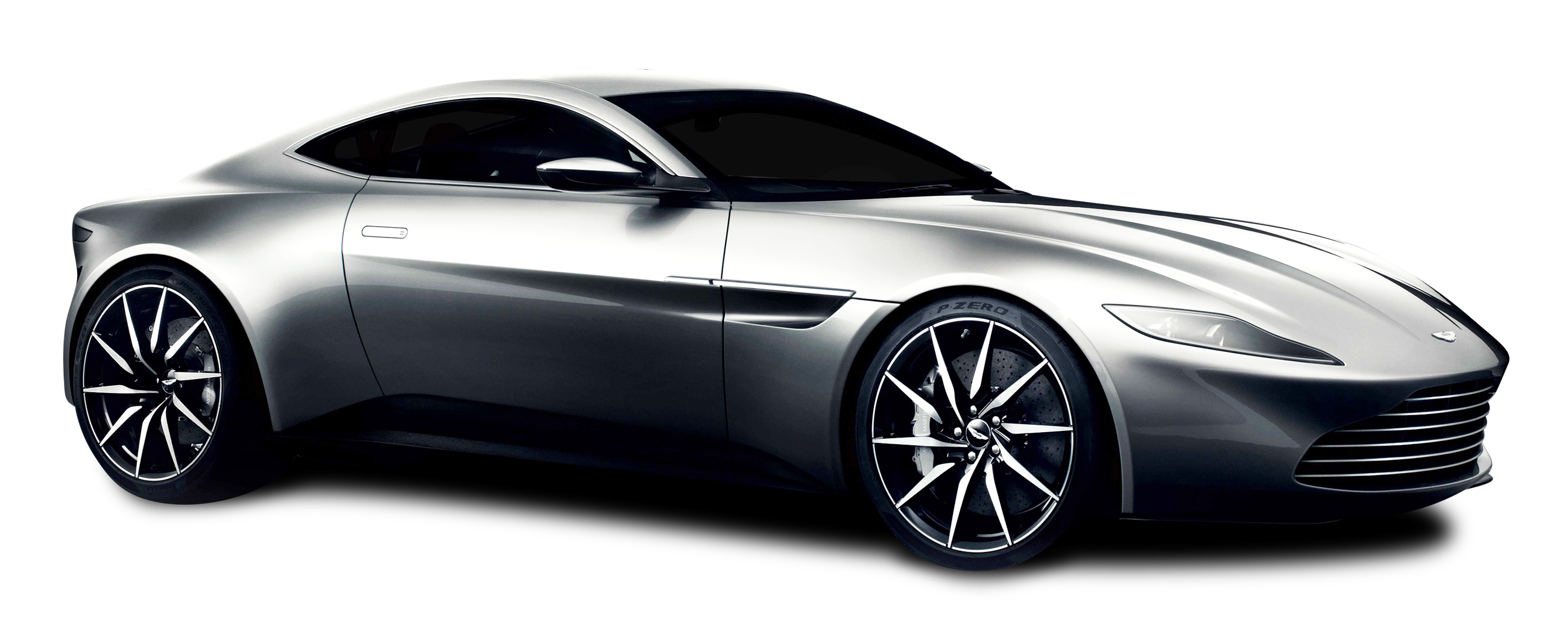 Aston Martin DB10 Silver Car PNG Image.