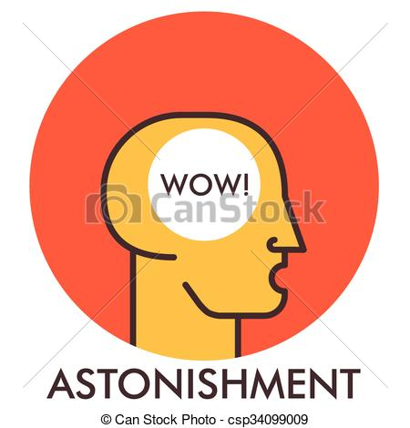 Vector Clipart of Astonishment. Wow. Line icon with flat design.