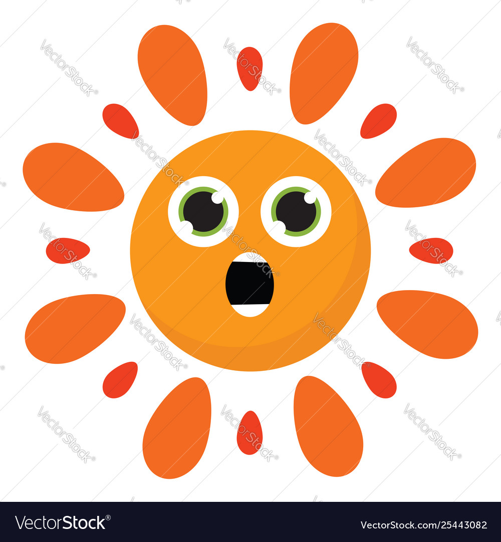Clipart astonished hot burning sun or.