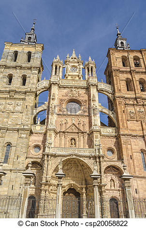 Stock Photo of Astorga cathedral facade csp20058822.