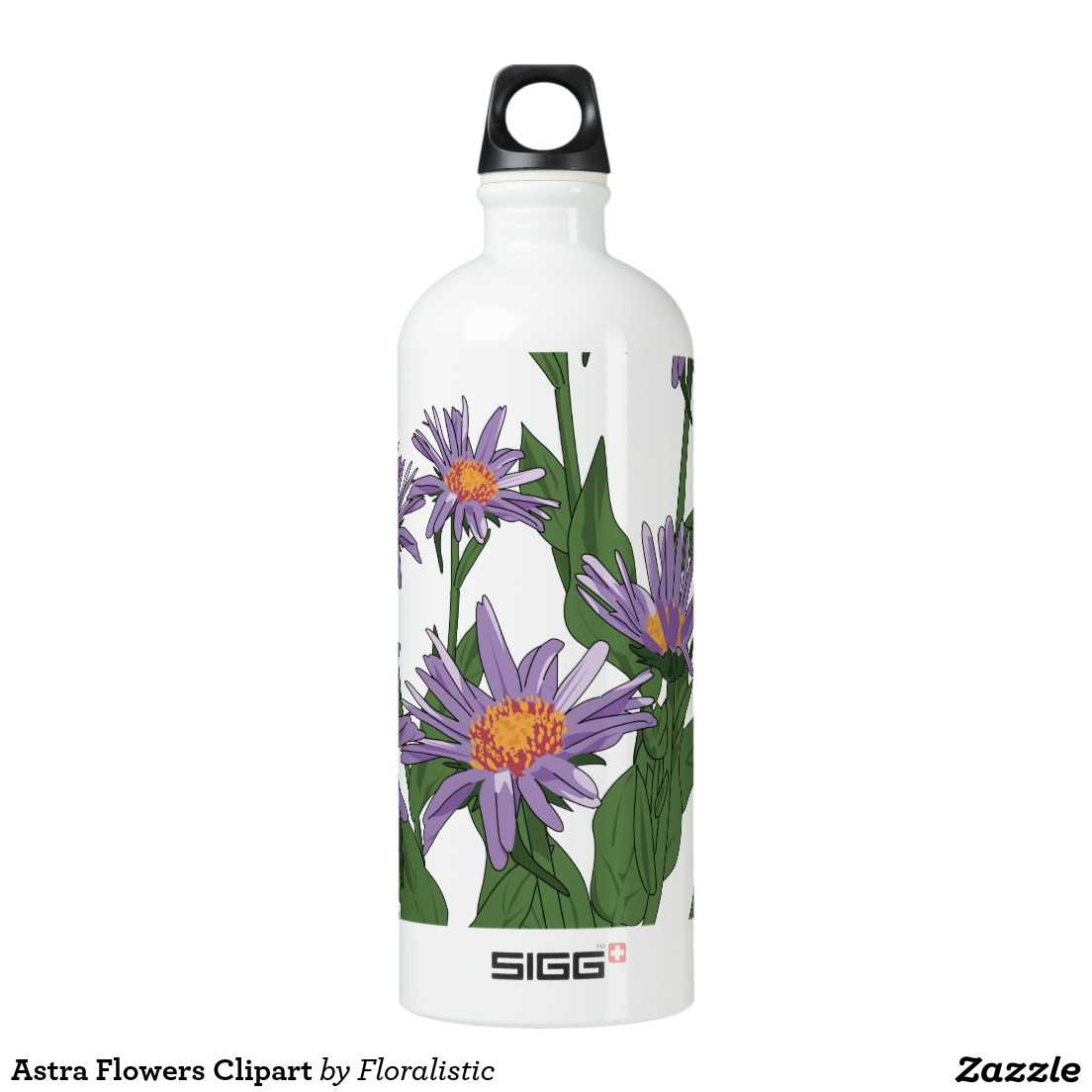 Astra Flowers Clipart Aluminum Water Bottle.