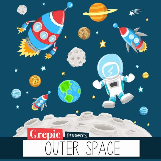 """Outer space clipart: """"OUTER SPACE"""" clip art pack with planets."""