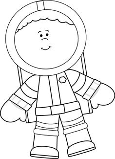 Black And White Astronaut Clipart.