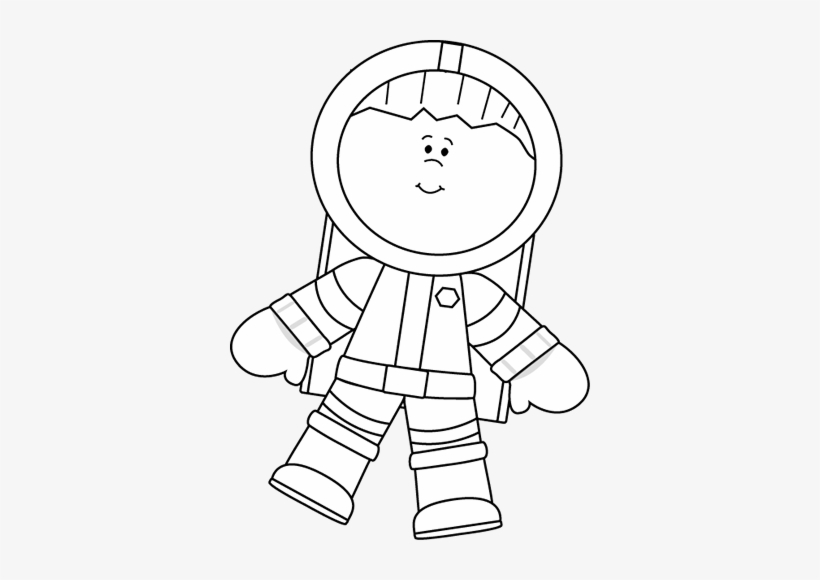 Black And White Boy Astronaut Floating Clip Art.