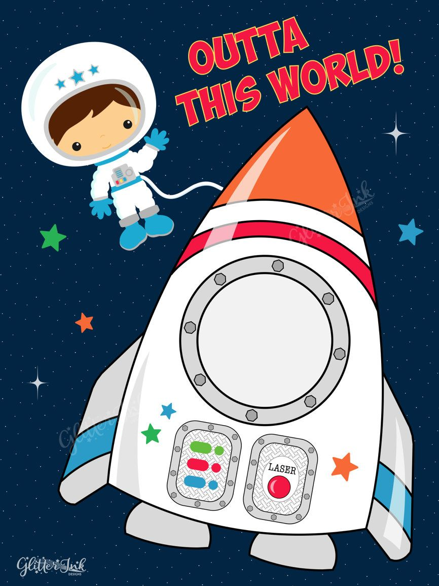 Astronaut outer space party printable photo booth prop.
