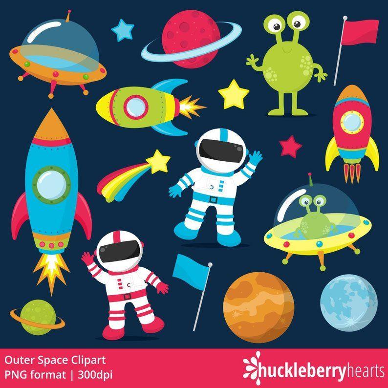 Outer Space Clipart, Astronaut Clipart, Rocket Ship Clipart.