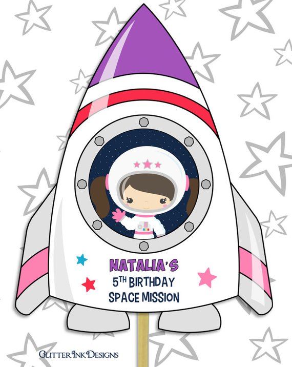 Space Rocket party pdf printable outer space PERSONALIZED.