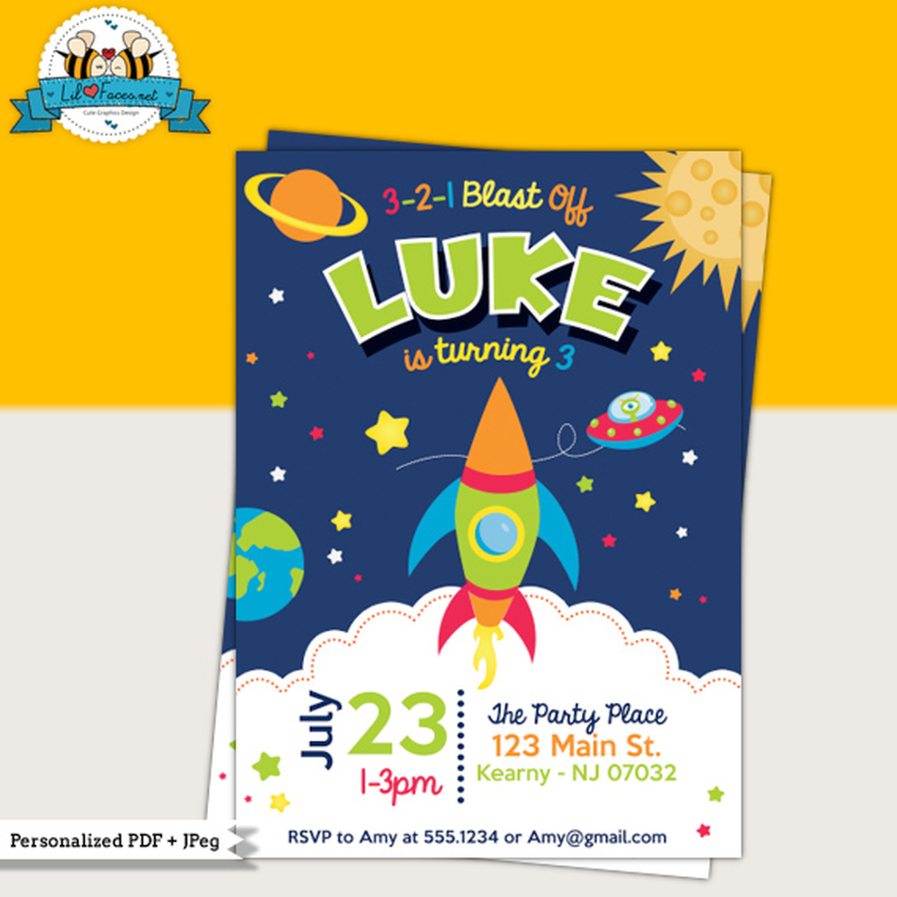 Space Rocket Birthday Party Printable Invitation.