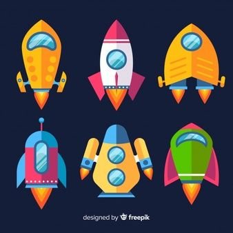 Clipart with objects for space exploration, astronaut in.