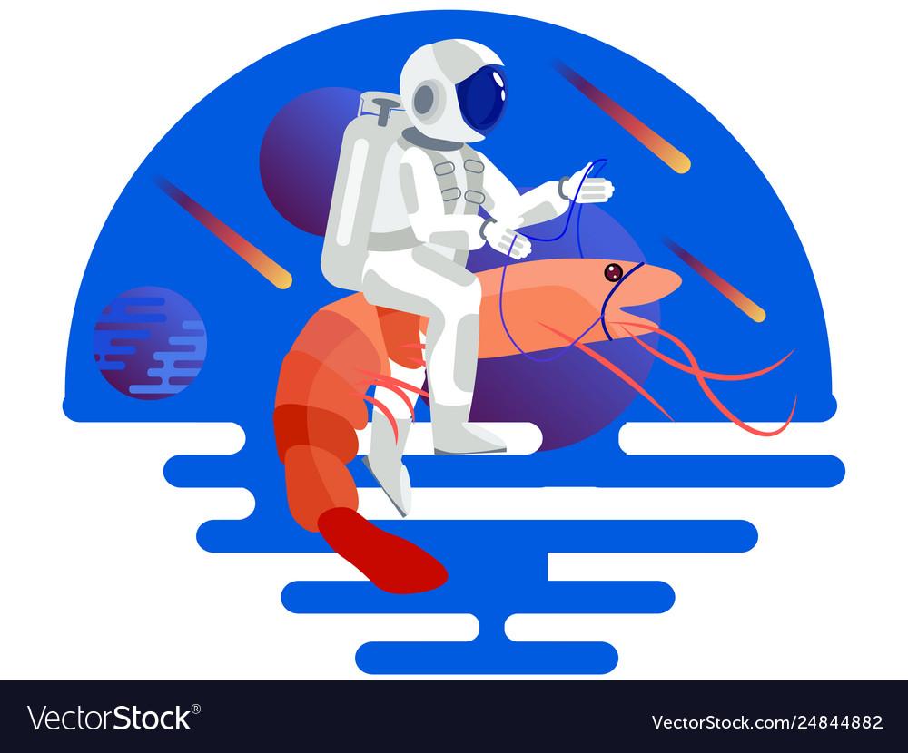 Astronaut riding a shrimp in minimalist style.