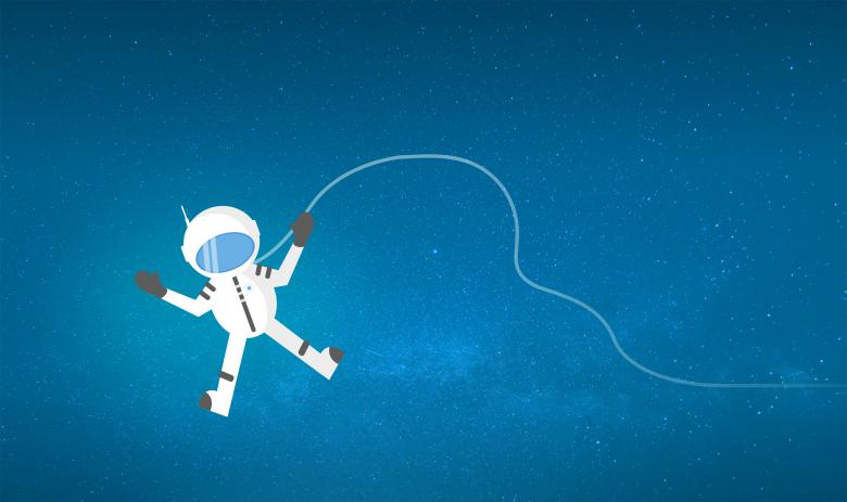 Cartoon Astronaut Drifting and Lost in Space.