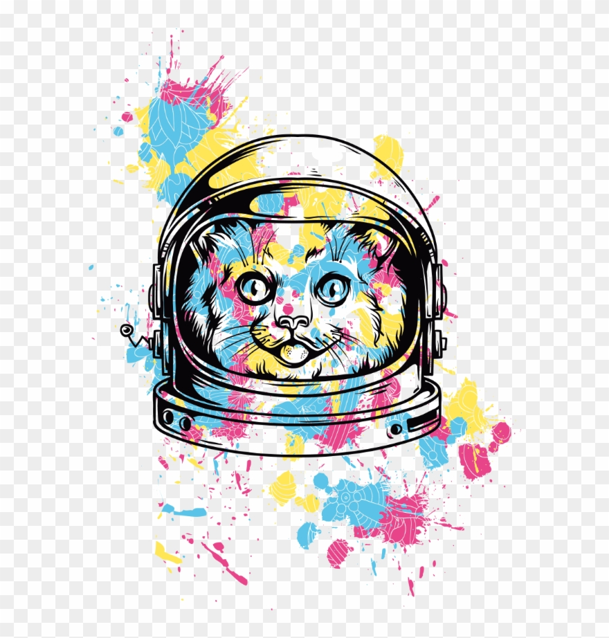 Cat Astronaut Paint Painting Animal Sky Space Universe.