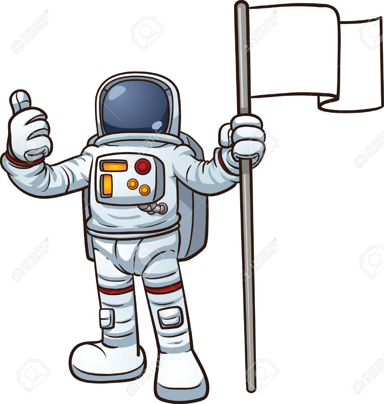 Cartoon astronaut with blank flag Vector clip art illustration...