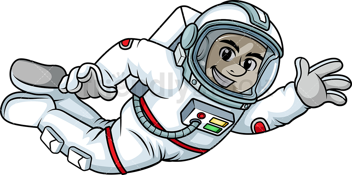 Male Astronaut Floating In Space.
