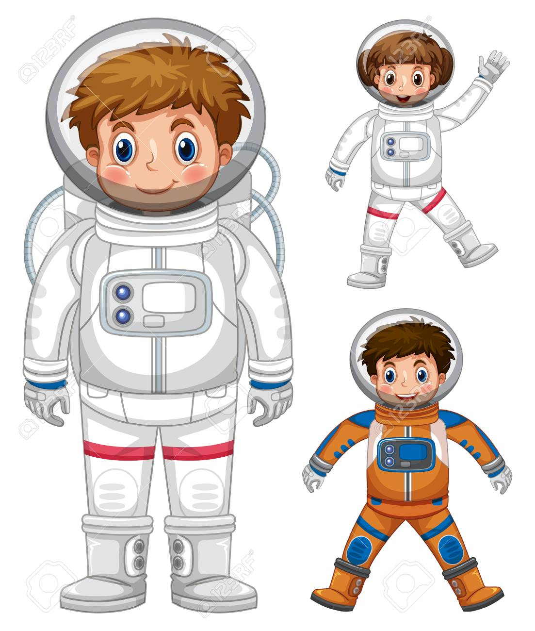 Three kids in astronaut costume illustration.