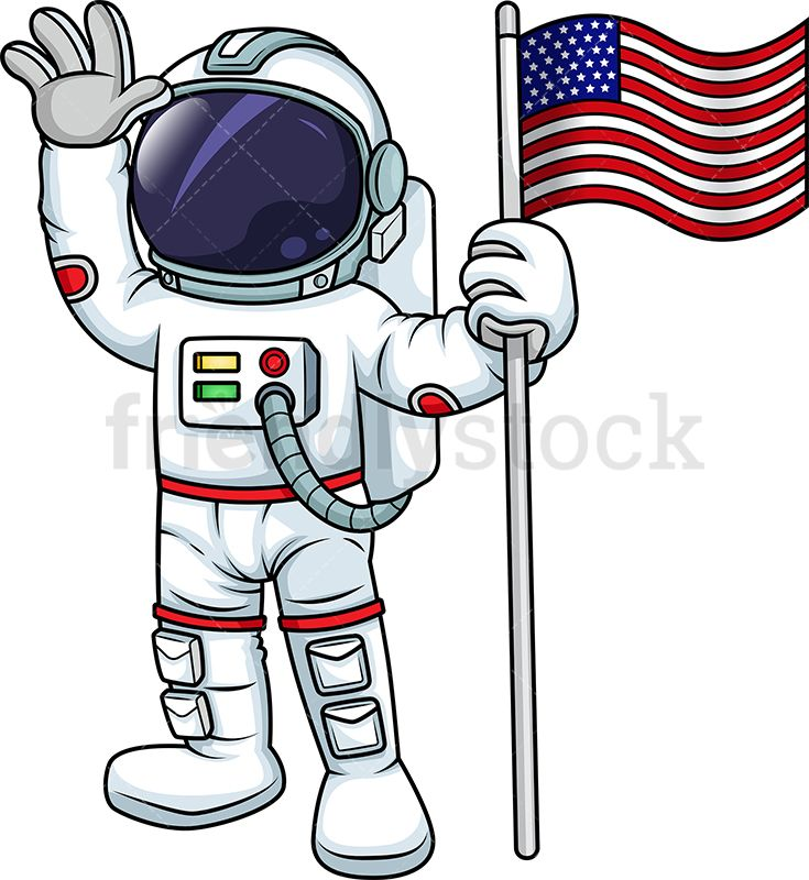 Male Astronaut Holding The American Flag.