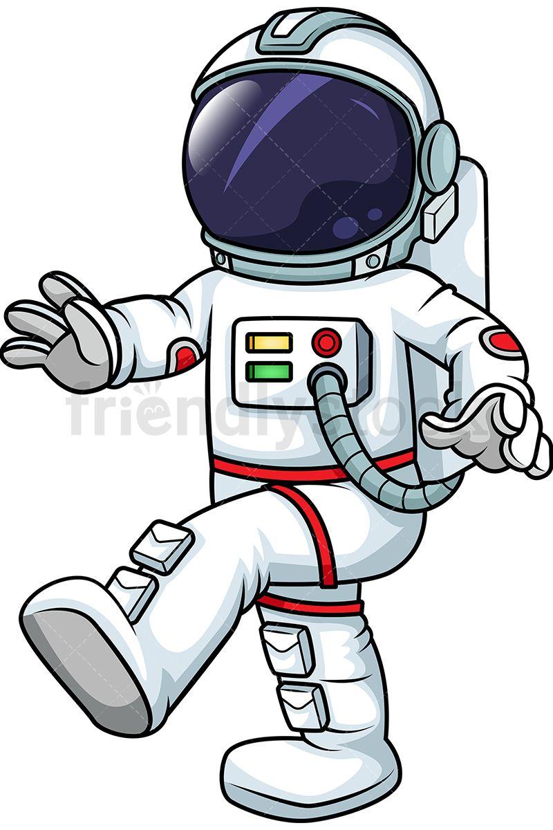 Male Astronaut Walking In Zero Gravity.