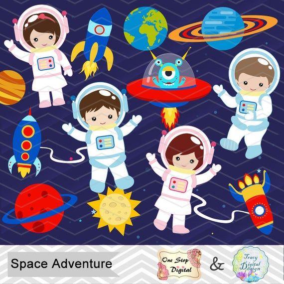Items similar to Digital Astronaut Clipart, Boy Astronaut.