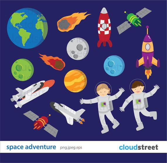 BUY 2 GET 1 FREE Space Adventure Clip art.