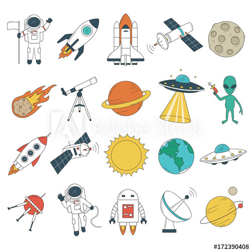 Set of space objects. Spaceship, rockets, planets, astronaut.