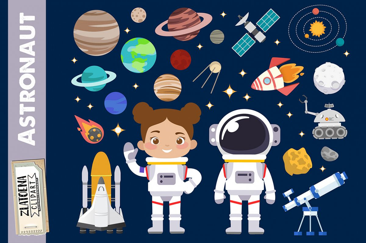Astronaut clipart Outer Space graphics Rocket Ship clipart.
