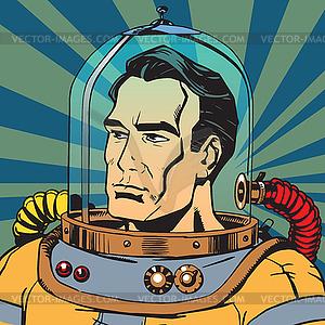 Avatar portrait of retro astronaut man.
