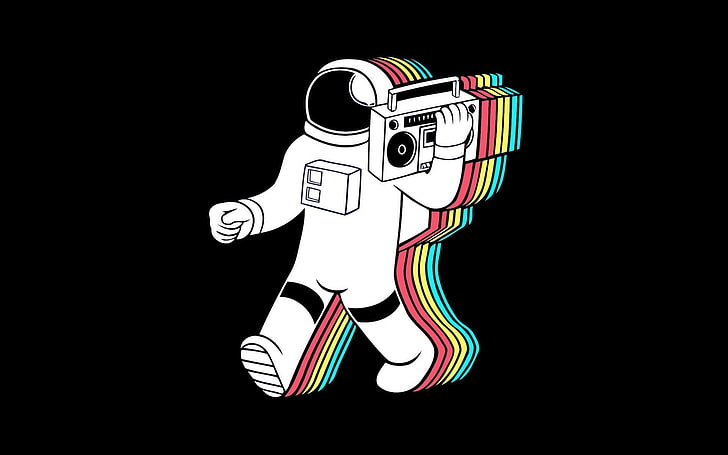 HD wallpaper: astronaut holding boombox clip art, space.
