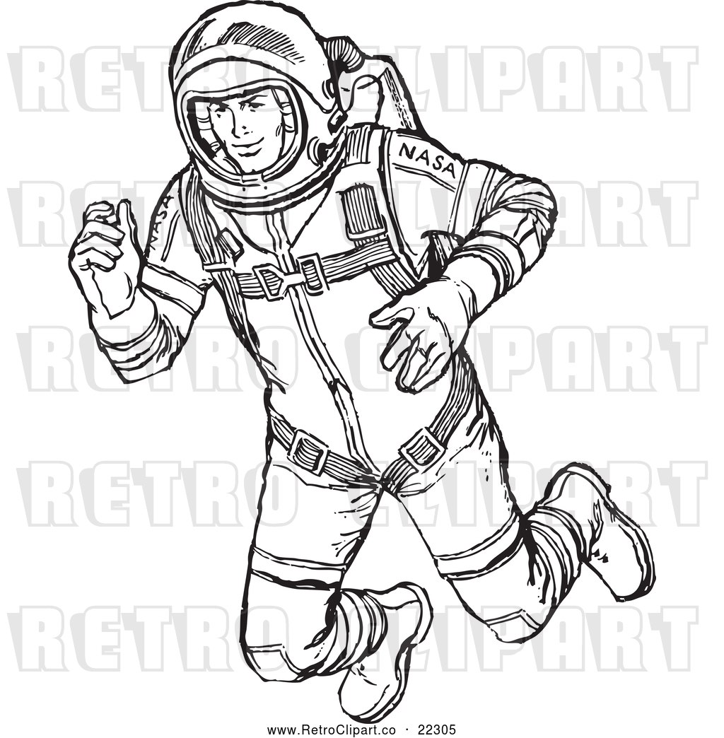 Vector Clip Art of Retro Astronaut Floating in Outer Space.
