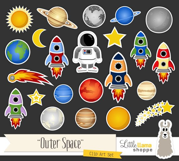 Space Clip Art, Cosmic Astronomy Planets Rockets Astronaut.