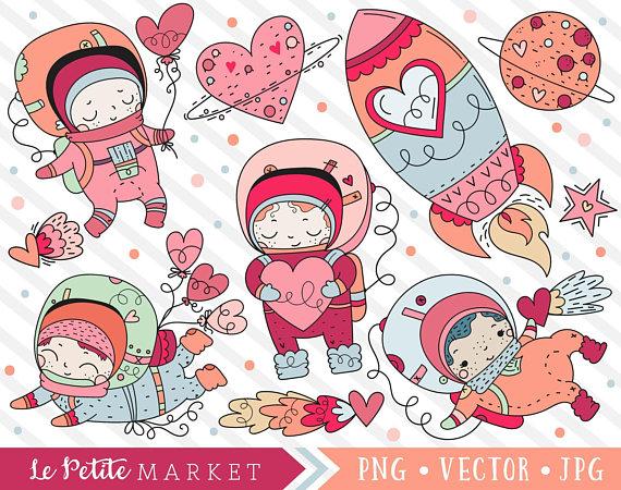 Cosmic Romance Clipart Set, Cute Astronauts Clip Art, Space.