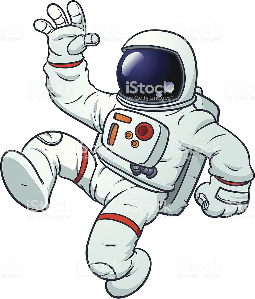 Cartoon astronaut floating. Vector illustration with simple.