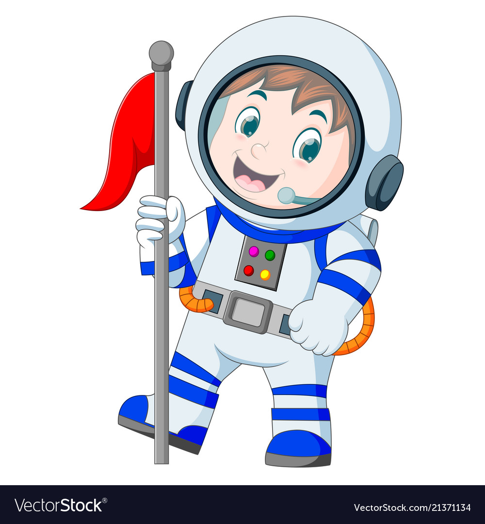 Astronaut in white spacesuit on white background.