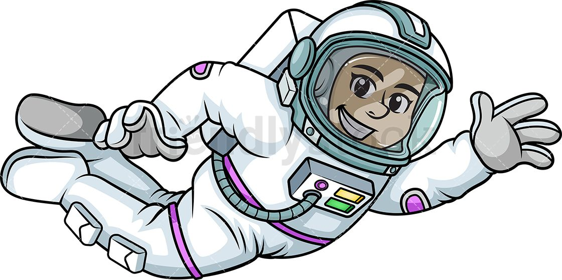 Female Astronaut Flying In Space.
