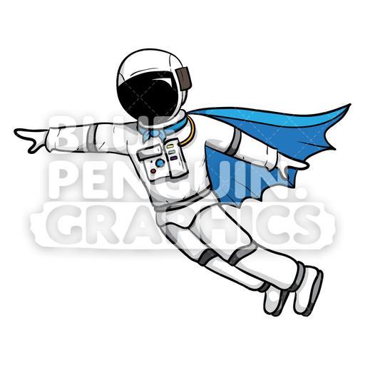 Astronaut Flying with Superhero Cape Vector Cartoon Clipart.