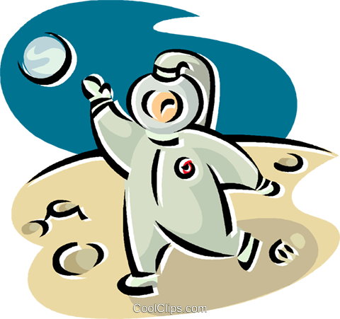 astronaut walking on the moon Royalty Free Vector Clip Art.